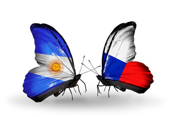 Two butterflies with flags Argentina and  Czech