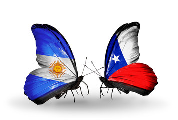 Two butterflies with flags Argentina and Chile