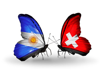 Two butterflies with flags Argentina and Switzerland