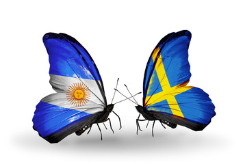 Two butterflies with flags Argentina and Sweden
