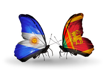 Two butterflies with flags Argentina and Sri Lanka