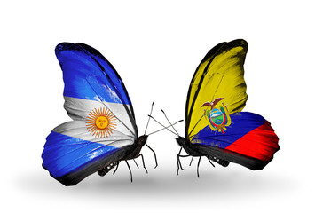 Two butterflies with flags Argentina and Ecuador
