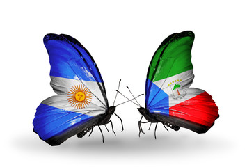 Two butterflies with flags Argentina and Equatorial Guinea