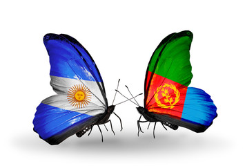 Two butterflies with flags Argentina and Eritrea