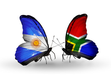 Two butterflies with flags Argentina and South Africa