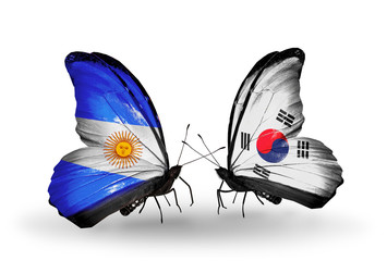 Two butterflies with flags Argentina and South Korea
