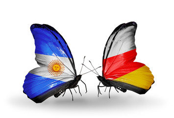Two butterflies with flags Argentina and South Ossetia