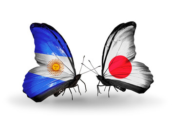 Two butterflies with flags Argentina and  Japan