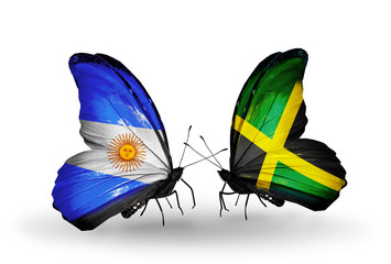 Two butterflies with flags Argentina and Jamaica