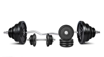 Black dumbbells isolated on white background
