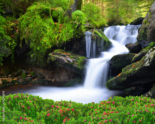 Fotobehang Watervallen Waterfall in the national park Sumava-Czech Republic