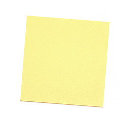 Blank yellow sticky note on white background