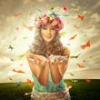 Beautiful woman surrounds many butterfly