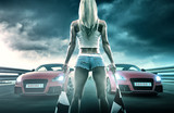 Sexy blonde woman starts racing - 76242746