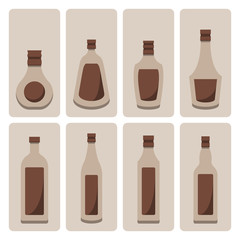 Vector set of alcohol bottle on isolated background