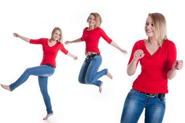Junge blonde Frau fühlt sich gut und tanzt fröhlich collage