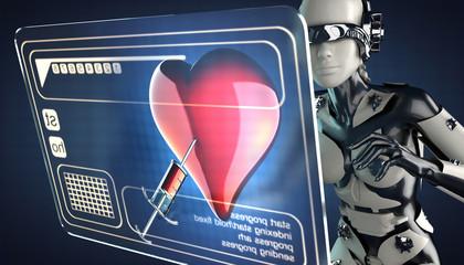 cyborg woman and hologram display