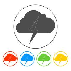 Lightning bolt weather flat line icon infographic
