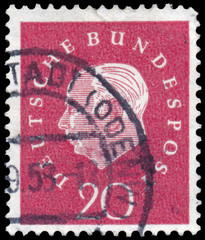 Stamp printed in Germany shows portrait of Theodor Heuss
