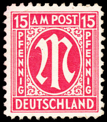 "Stamp printed in Germany shows ""M"""