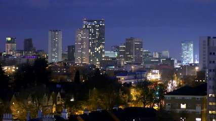 Birmingham, England city centre skyline at night.