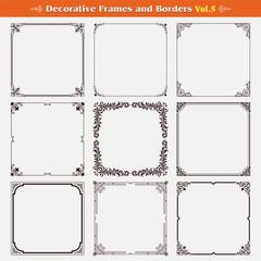 Decorative frames and borders set 5 vector