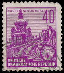 Stamp printed in GDR, shows the Zwinger