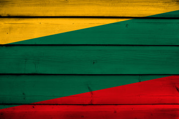Lithuania Flag on wood background