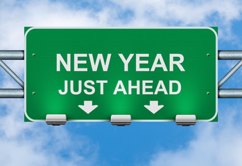 New year just ahed road sign on sky background.