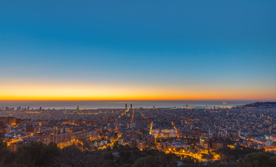 Panoramic view over Barcelona just before sunrise
