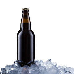 Beer Bottle On Ice Cubes
