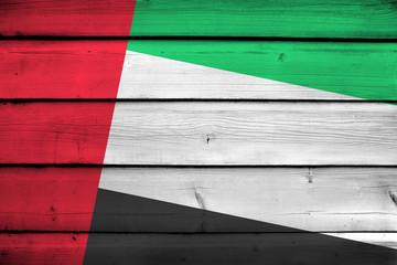 United Arab Emirates Flag on wood background