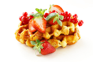 Belgian waffles with berries (currants and strawberries)