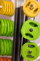 Colorful new weights in a gym or shop