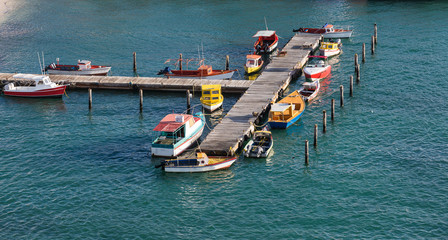 Colorful Fishing Boats at Aruba Pier
