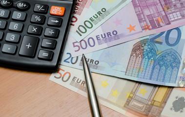 Euro money background and calculator