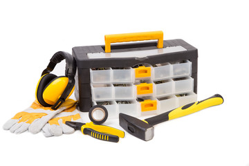 Black toolbox with tools.