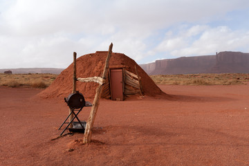 Traditional Navajo hogan in Monument Valley, USA