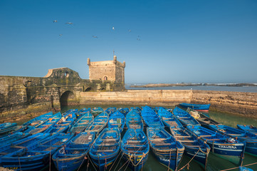 Fisherman boats in  Essaouira port, Morocco