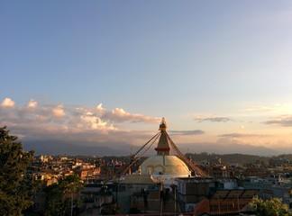 Stupa Boudhanath in Kathmandu at sunrise