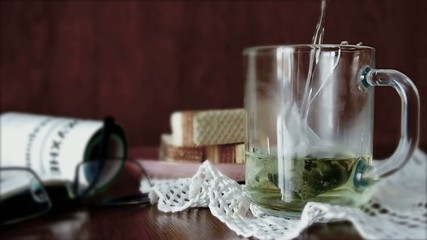 Brewing of green tea  for easy breakfast