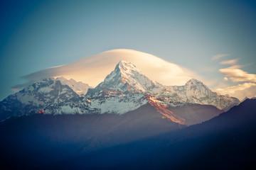 Mount Annapurna at sunrise in Himalayas range Nepal