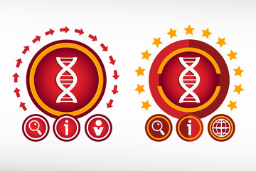 DNA icon on creative background. Red design concept for banner,