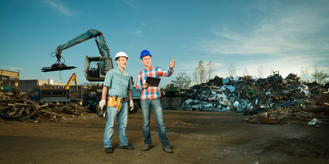 engineers at metal landfill