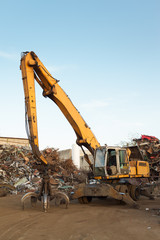 working equipment in recycling center