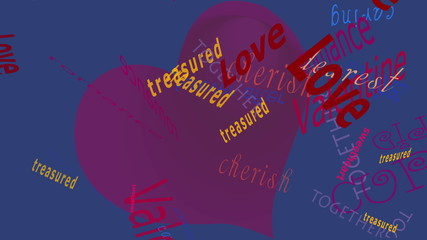Love Words Falling Before a solid color background.