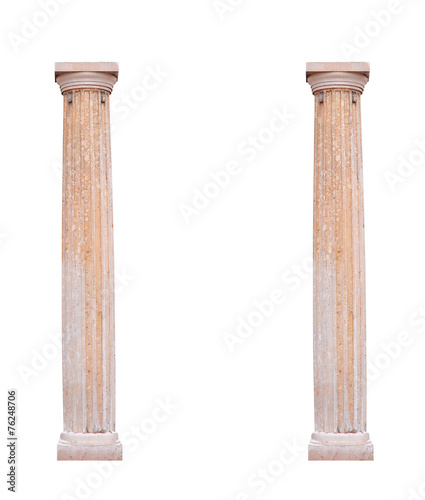 Leinwanddruck Bild Two architectural columns on a white background