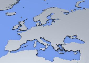 Cartina Europa in rilievo, 3d