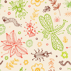 abstract seamless background, flowers and insects hand drawn pat