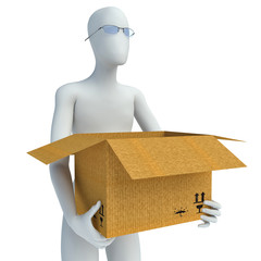 3D man moving house and carrying box